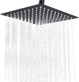 12 Inch Square Rain Shower Head Matte Black Rainfall and Hig