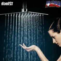12'' Square Stainless Steel Rain Shower Head Rainfall Bathro