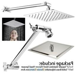 "12"" Stainless Steel Rainfall Shower Head with 11"" Solid Bras"