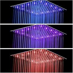 "LORDEAR 10""LED Brushed Nickel Shower Head Square Rain Ultra"