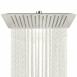 16 inch Rain Square Shower Head Wall Ceiling Mounted Top Spr