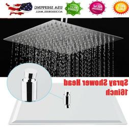 16-inch Shower Head Ceiling/Wall Mount Brushed Stainless Rai