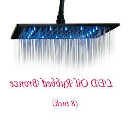 "12""Brushed Nickel LED Rain Shower Head Square Large Overhead"