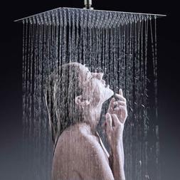 "16"" Rain Shower Head Brushed Nickel 304 Stainless Steel Rain"