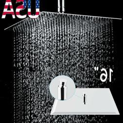 16'' Square Stainless Steel Rain Shower Head Rainfall Bathro