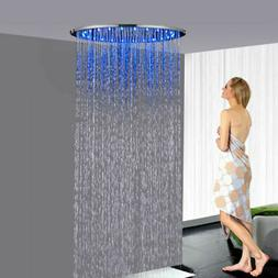 "20""Chrome LED Shower Head Ceiling Mounted Round Bath High Pr"