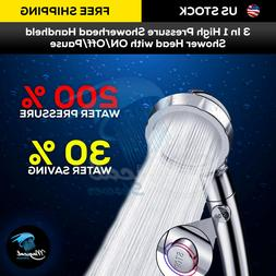 3 In 1 High Pressure Shower Head Handheld Shower Head with O