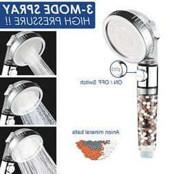 3 Mode High Pressure Shower Head Ionic Filtered Stone Water