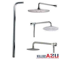 60CM 24'' Shower Head Wall Arm Mounted Tube Stainless Steel