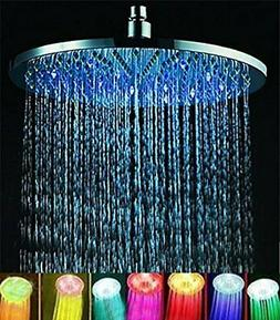"7 colors 8"" Rainfall Round Bathroom Shower Head RGB LED Flas"