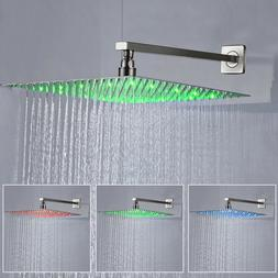 16 Inch Brushed Nickel LED Shower Head Square High Pressure