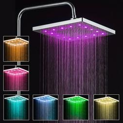 """8"""" Square LED Rainfall Shower Head 7 Color Changing Ultra Th"""