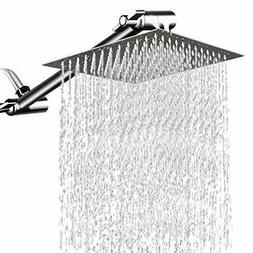 8 Inches Square Rain Showerhead with 11 Inches Adjustable Ex