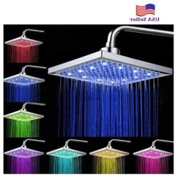 8 inch Square Temperature Sensitive Rainfall LED Shower Head