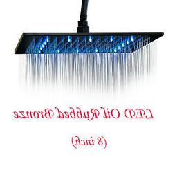Matte Black LED Shower Head 16 Inch Square Ultrathin Rainfal