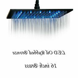 "10""Oil Rubbed Bronze LED Rain Shower Head Wall Mout Bath Squ"