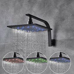 "8""Oil Rubbed Bronze LED Rain Shower Head Adjustable Square S"