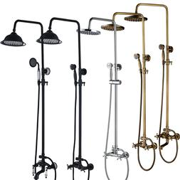 "8"" Rain Shower Head Faucet Set Wall Mount Mixer Tap Handheld"