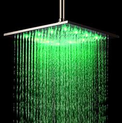 Rozin 12-inch LED Color Bathroom Square Shower Head Rainfall