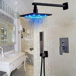 "Rozin Wall Mount 2-way Shower Set LED Light Square 8"" Rainfa"