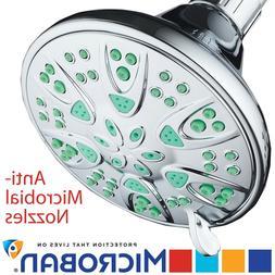 Antimicrobial/Anti-Clog High-Pressure 6-setting Shower Head