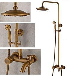Antique Brass Bathtub Shower Faucet with 8 Inch Shower Head