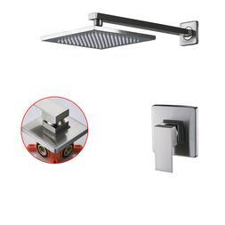 Bath Shower Faucet Set 8'' Rain Shower Mixer Tap LED Rain He