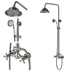Rozin Bathroom Dual Knobs Mixer Rainfall Shower Set with Han