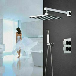 "Bathroom Fixtures 10"" Brass Shower Head Set Rain Faucet Ther"