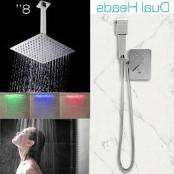 "Bathroom Rain Shower Faucet System Set 8""Shower Head+Hand Sh"