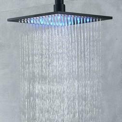 Senlesen Bathroom Rainfall 10 inch Square Top Shower Head wi