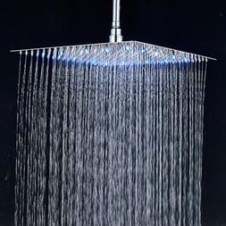 Rozin Bathroom 16-inch Rainfall Shower Head LED Light Top Sp