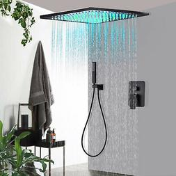 Black Shower Faucet Combo Set 10 inch LED Rainfall With Hand