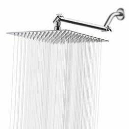Brushed Nickel 10 Inch Adjustable Rain Ultra Thin Shower Hea
