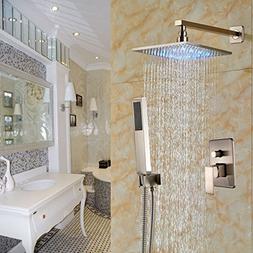 Rozin Brushed Nickel 2-way Mixer Shower Set LED Light 12-inc