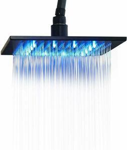 Black LED Shower Head Ceiling Shower Spray 10 inch Top Rain