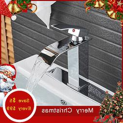 Chrome Waterfall Bathroom Sink Faucet Basin Mixer One Hole C