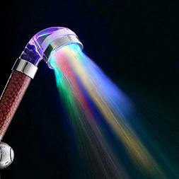 Bule Moo-Cow 7 Colors Change Led shower Tourmaline SPA Anion