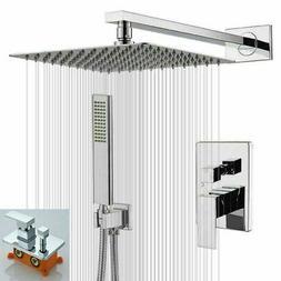Chrome 2-Way Shower Set System 8'' Rainfall Head Hand Spray