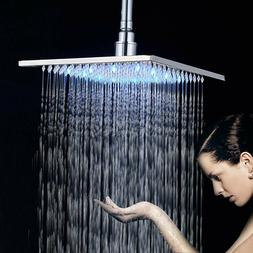 Chrome Bathroom 10-inch Rainfall Shower Head LED Light Overh