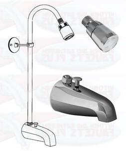 Chrome BathTub Diverter Spout  Add-A-Shower Kit With Shower
