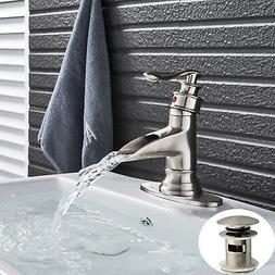 Chrome Brass  LED Bathroom Basin Faucet Widespread Waterfall