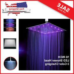 Chrome Finish 12 Inch LED Rainfall Shower Head  Square Ultra