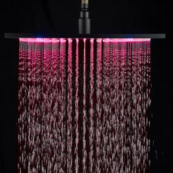 Chrome Finish 12 Inch LED Rainfall Shower Head  Square Ultra