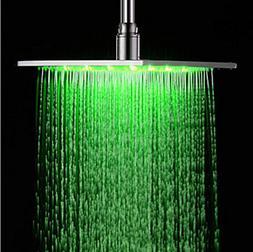 Rozin Chrome Finish 12-inch LED Color Bathroom Square Shower