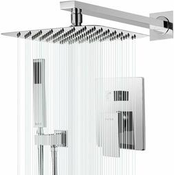 "Chrome Shower Combos Faucet 8"" Ultra-thin Rain Head Handheld"
