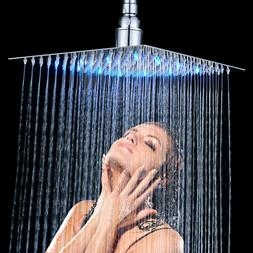 Chrome Wall/Ceiling Mount Shower Head LED Light 10 inch Top