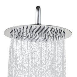 Derpras Round Rain Shower Head, 304 Stainless Steel, Ultra T