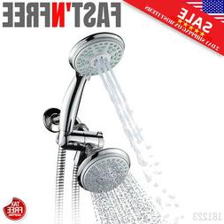 Dual Shower Head Hand Held Rain Extension High Pressure With