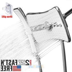 High Pressure 4 Setting Dual Shower Head Rainfall Jet & Hand